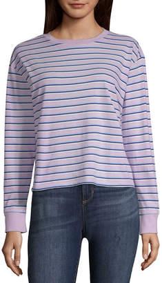 Arizona Womens Round Neck Long Sleeve T-Shirt Juniors