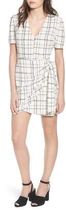 --- Plaid Faux Wrap Dress