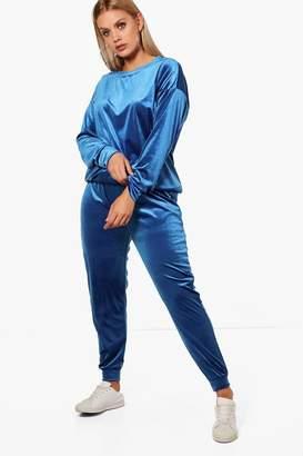 boohoo Plus Velvet Top And Sweat Pants
