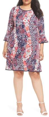 MICHAEL Michael Kors Patchwork Floral Bell Sleeve Shift Dress