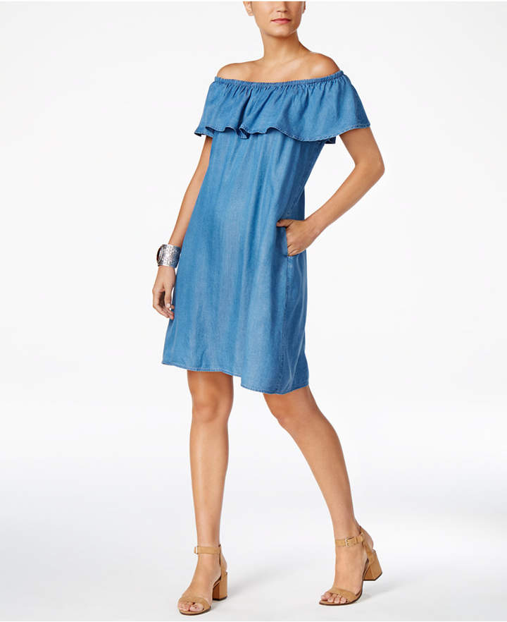 Style & Co Denim Off-The-Shoulder Dress, Only at Macy's