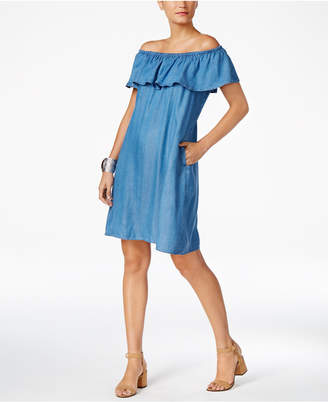 Style & Co Denim Off-The-Shoulder Dress, Only at Macy's $59.50 thestylecure.com