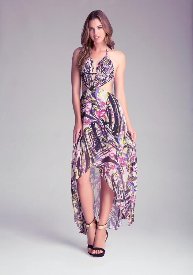 Bebe Hi-Lo Fringe Detail Dress
