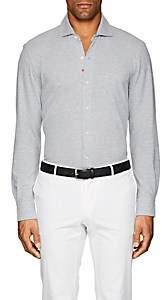 Isaia Men's Cotton Piqué Shirt - Gray