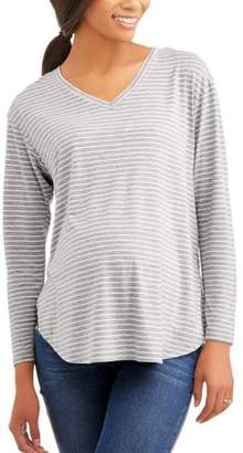 Faded Glory Maternity Long Sleeve V Neck Striped Tee, 2-Pack
