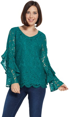Isaac Mizrahi Live! Ruffle Sleeve Lace Top with Scallop Hem