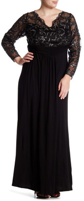Marina Sheer Beaded Lace Long Sleeve Gown (Plus Size) $179 thestylecure.com