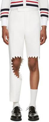 Thom Browne White Denim Trompe L'Oeil Shark Bite Trousers $2,500 thestylecure.com