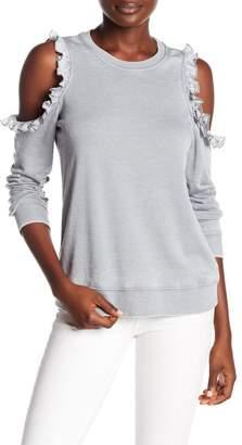 Romeo & Juliet Couture Cold Shoulder Ruffle Trim Sweater