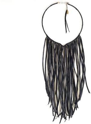 Astali Brass & Leather Fringe Collar
