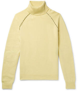 Alanui Appliqued Cashmere Rollneck Sweater - Yellow