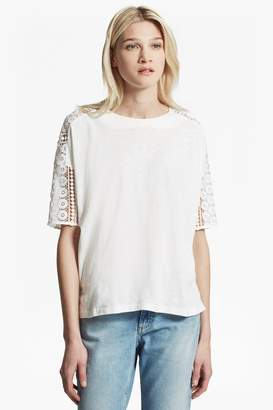 French Connection Dune Lace Crochet Oversized T-Shirt