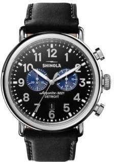 Shinola Runwell Chronograph Stainless Steel& Leather-Strap Watch