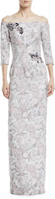 Theia Metallic Jacquard Off-the-Shoulder Gown