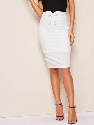 Shein Notched Waist Bow Front Split Hem Pencil Skirt
