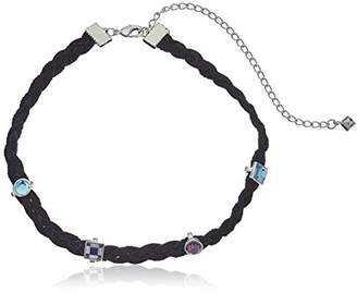 Rebecca Minkoff Multi Stone Charms on Braided Leather Silver Blue Multicolor Choker Necklace