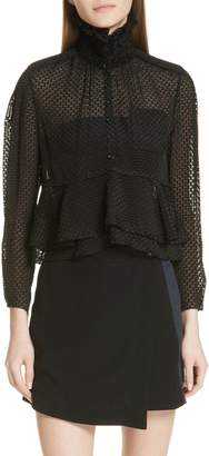 Carven Clipped Dot Silk Blouse