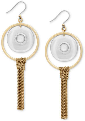 Lucky Brand Two-Tone Orbital Stone & Chain Fringe Drop Earrings