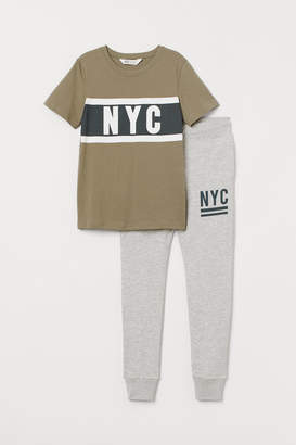 H&M T-shirt and Joggers - Green