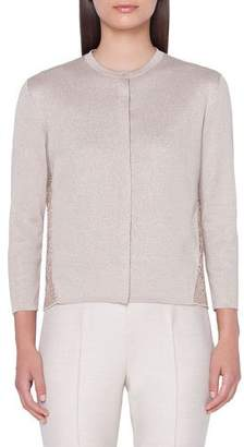 Akris Metallic Silk Embroidered-Back Cardigan