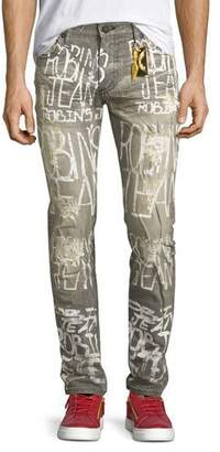 Robin's Jeans Logo Graffiti-Paint Skinny Jeans, Gray