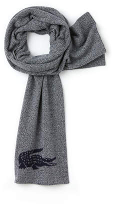 Lacoste Men's Jacquard Crocodile Wool Scarf
