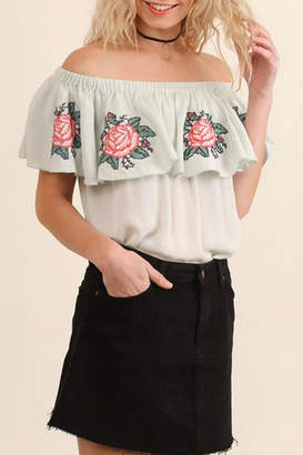 Umgee USA Floral Embroidery Top