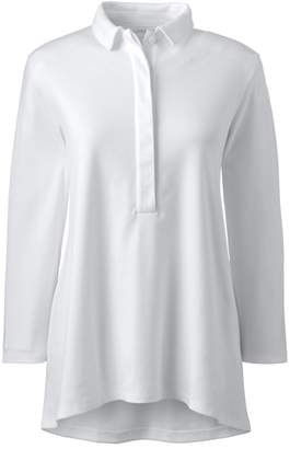 Lands' End White Tall Three-Quarter Length Sleeve Pima Polo Shirt