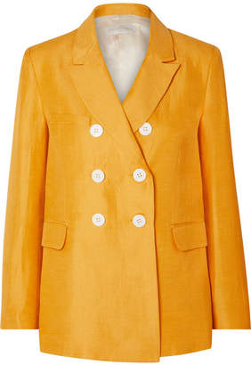 Les Héroïnes The Gladys Double-breasted Linen-blend Canvas Blazer - Mustard