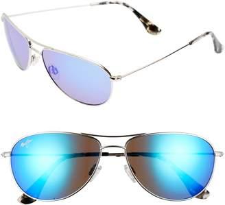 Maui Jim Sea House 60mm Polarized Titanium Aviator Sunglasses