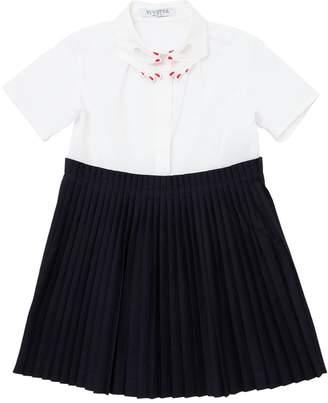 Hand Collar Cotton Poplin Plisse Dress
