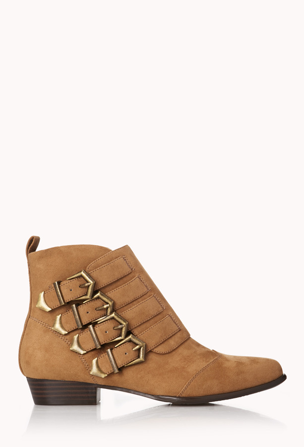 FOREVER 21 Street-Chic Buckle Booties