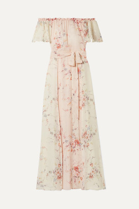 LoveShackFancy Evelyn Off-the-shoulder Floral-print Silk-georgette Maxi Dress