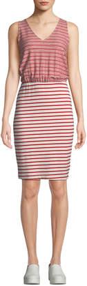 Three Dots Mixed-Stripe Sleeveless Tank Dress