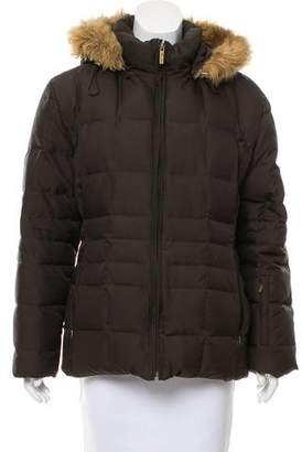 Calvin Klein Collection Faux Fur-Trimmed Down Coat
