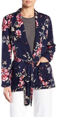 Joie Anasophia Floral Print Belted Silk Blazer