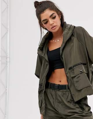 Qed London QED London oversized shell jacket in khaki