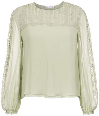 Nk Collection lace detail silk blouse