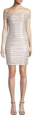 Aidan Mattox Off-The-Shoulder Ruched Foiled Mini Dress