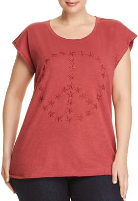 Lucky Brand Plus Star Embroidered Peace Top