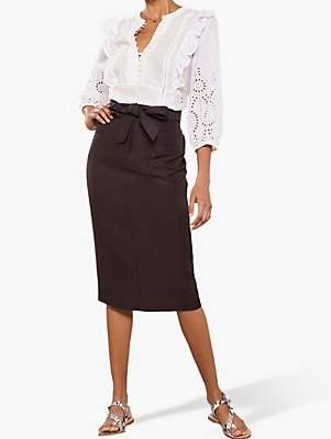 e1812eb071 Mint Velvet Pocket Pencil Skirt, Brown