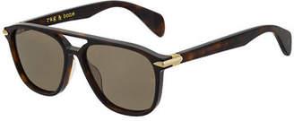 Rag & Bone Men's Rectangular Acetate Navigator Sunglasses