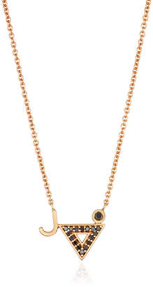 S/H Koh 14k Yellow Gold & Diamond Modernist Initials Triangle Pendant Necklace