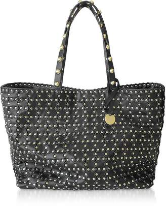 RED Valentino Flower Puzzle Black Leather Tote Bag