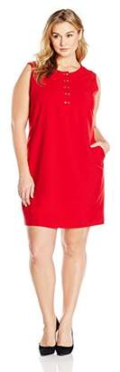 Lark & Ro Women's Plus Size Sleeveless Snap Front Stretch Dress