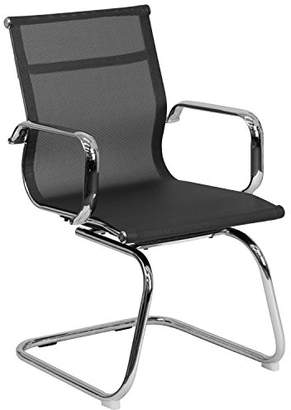 Flash Furniture Transparent Mesh Side Reception Chair with Chrome Sled Base