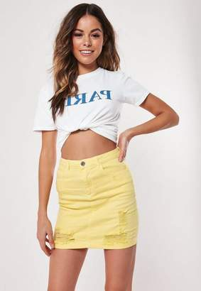 Missguided Yellow Distressed Superstretch Denim Mini Skirt