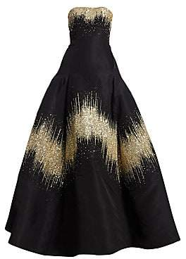 Oscar de la Renta Women's Metallic Sequin Strapless Ball Gown