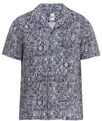 120% Lino Short-sleeved Aztec-pattern linen shirt