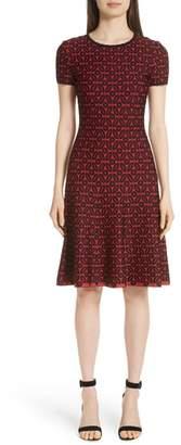 St. John Floral Blister Jacquard Knit Dress